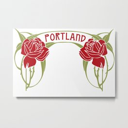 Art Nouveau Roses Portland by Seasons K Designs Metal Print