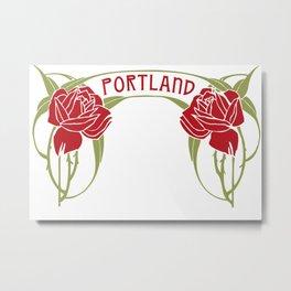 Art Nouveau Roses Portland by Seasons K Designs Metal Print