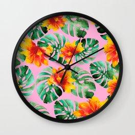 Tropical Monstera Bloom Wall Clock