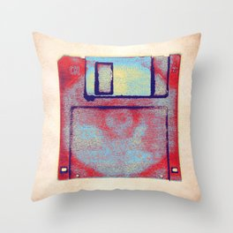 Posterized Floppy Disk Impression. Throw Pillow
