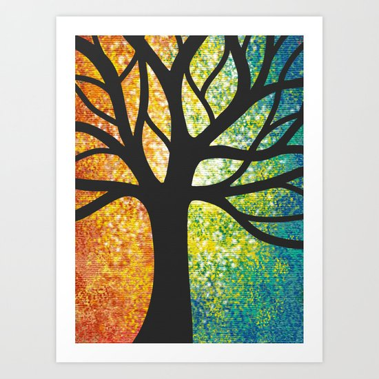 Stencil Tree Canvas Art Print