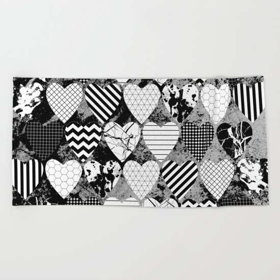 Textured Black And White Hearts - Abstract, geometric pattern Beach Towel