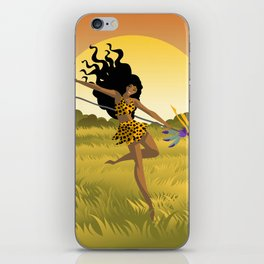 wild african huntress jumping in the jungle iPhone Skin
