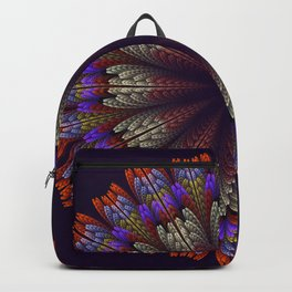 Floral mandala with tribal patterns in the petals Backpack