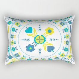Folk Flowers in Yellow and Turquoise Rectangular Pillow