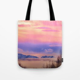 Alaskan Winter Fog Digital Painting Tote Bag