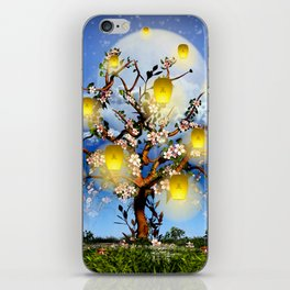 Cherry tree blossom garden with yellow lanterns and moonlight iPhone Skin