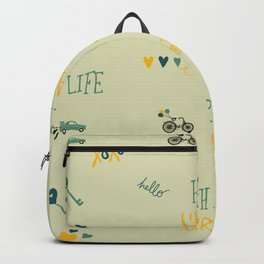 Happy urban life typography doodles hipster pattern Backpack
