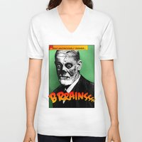 freud V-neck T-shirts featuring Zombie Freud by Ms Moirai