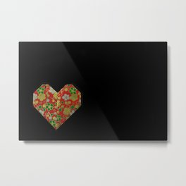 Origami Valentine's Day Heart on Black Background Metal Print