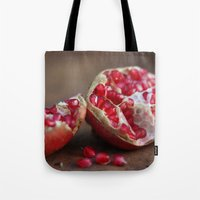 pomegranate Tote Bags featuring pomegranate by Life Through the Lens