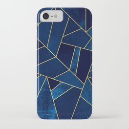 Blue stone with yellow lines iPhone Case