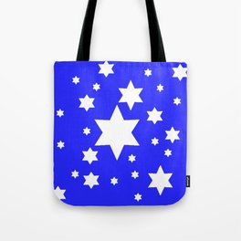 WHITE STARS ON BLUE DESIGN ART Tote Bag