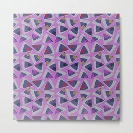 Triangles Play Fuschia Metal Print