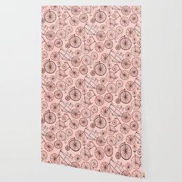 Monochroem Vintage Biycles On Coral Pink Wallpaper
