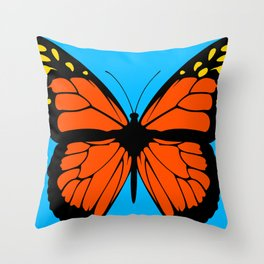 Butterfly Art Orange & Yellow With Blue Background Throw Pillow