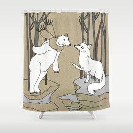 Arctic fox and Polar bear, Romeo and Juliet Shower Curtain