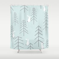 rabbits Shower Curtains featuring White rabbits by Dream Of Forest