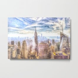 New York Manhattan Skyline Art Metal Print