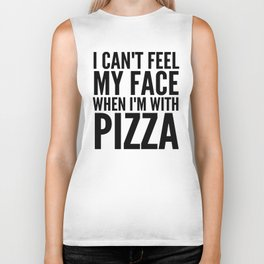 I Can't Feel My Face When I'm With Pizza (Yellow) Biker Tank