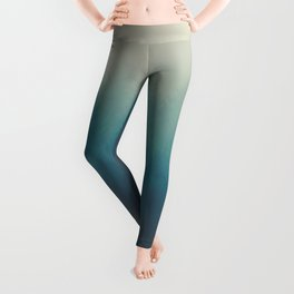 MIsty Turquoise Blue Pine Forest Foggy Parallax Tree Landscape Silhouette Leggings