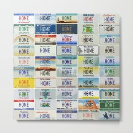 HOME License Plates of the States of America Metal Print