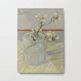 Sprig of Flowering Almond in a Glass Metal Print