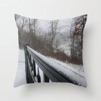 rileigh smirl Throw Pillows featuring Snowy Rail by Rileigh Smirl