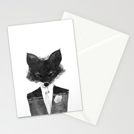 minima - dapper fox | noir Stationery Cards