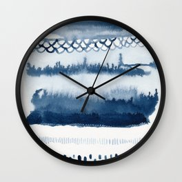 Beach Series Indigo Waves Watercolor Painting Wall Clock