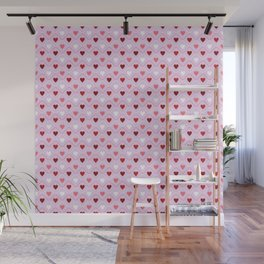 Valentines - Pink Heart Pattern Wall Mural