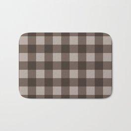 Brown Checkered Plaid Squares Bath Mat