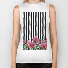 Black white brushstrokes pink watercolor floral stripes Biker Tank