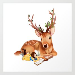 The Deer Rider is Taking the rest at the Deer's Side Art Print
