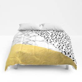 Carina - gold black and white with marble abstract painting minimalist decor dorm college nursery Comforters