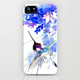 Flying Hummingbird and Blue Flowers iPhone Case