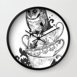 Baby Owl in Antique Teacups  Wall Clock