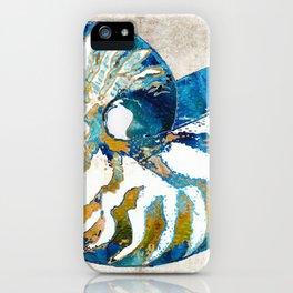 Beachy Art - Nautilus Shell Bleu - Sharon Cummings iPhone Case