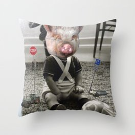 PigBaby Collage Throw Pillow