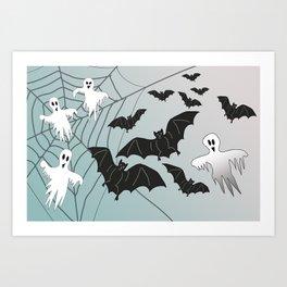 Bats & Monsters Halloween Spider Web Art Print