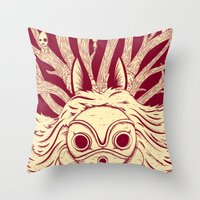 princess mononoke Throw Pillows featuring Princess Mononoke by andbloom