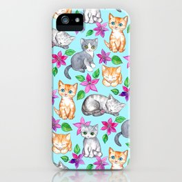 Kittens and Clematis - blue iPhone Case