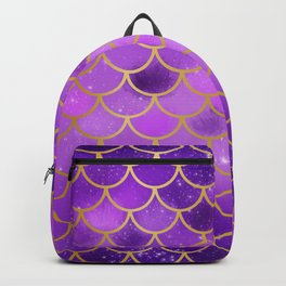 Gold and purple mermaid pattern Backpack