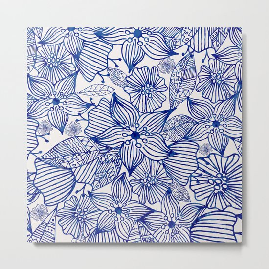 Hand painted royal blue white watercolor floral illustration Metal Print