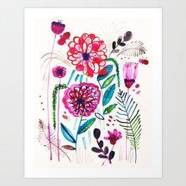 Wild Dahlias Art Print