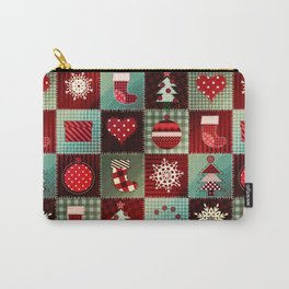 Cozy Christmas pattern in patchwork. Christmas tree, snowflakes, socks, pine tree. Vintage xmas plaid hand drawn illustration Carry-All Pouch