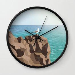 Seagull on rock Wall Clock