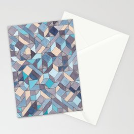 Shifitng Geometric Pattern in Blue Stationery Cards