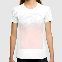 Blush Pink on White and Gray Marble II T-shirt