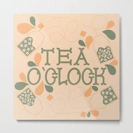 Tea O'Clock- Orange and Green Metal Print